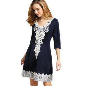Lovebite Elegant Navy V Neck Half Sleeve Crochet Applique Box Pleated Dress