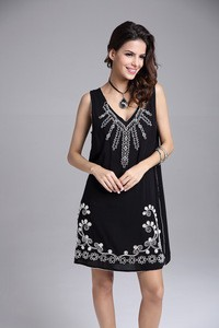 Lovebitebd Embroidery Flower Vintage Loose Sleeveless Dress For Women