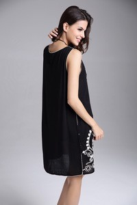 Lovebite Embroidery Flower Vintage Style Loose Black Sleeveless Dress