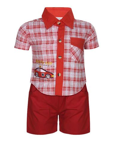 The Babyshop Cotton Check Clothing Set - Red