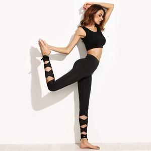 Lovebitebd High Waist Wide Waistband Tie Up Skinny Leggings For Women