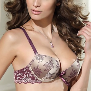 Lovebitebd Lace Satin Floral Push Up Bra Set For Women