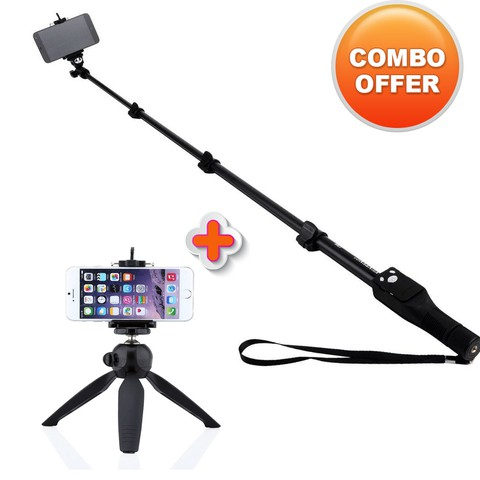 Combo offer Yunteng YT-1288 monopod selfie stick and Yunteng YT-288 mini Tripod
