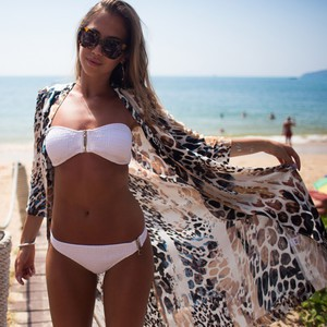 Lovebitebd Leopard Printed Chiffon Shawl Bikini Swimwear Cover Up For Women