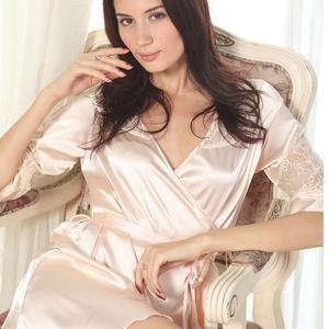 Lovebite Womens Luxury Lace Deep V Sleepwear Robes Faux Silk