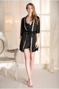 Lovebite Embroidery Sexy Lace Women Robe Set With Belt Robe V-Neck Spaghetti Strap Nightdress