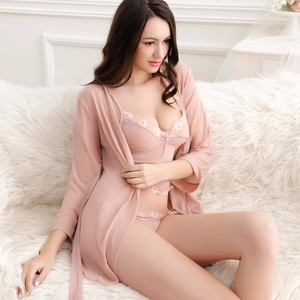 Lovebite 3 Pcs Lace Sexy Women Robe+Nightgown+G-String Robe Set