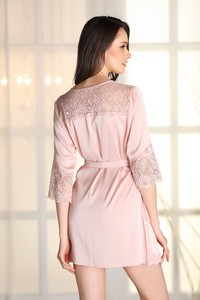 Lovebite Women Sexy Nightwear Faux Silk Robe With Sashes Lace Splicing Satin Bathrobe