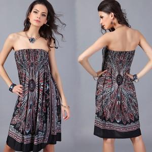 Lovebite Print Boho Style Off The Shoulder Sleeveless Strapless Mini Party Dress
