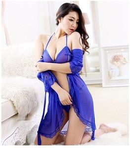 Lovebite Women silk Robe Set hollow out Lace thin sleepwear (bathrobe + sling +T-Back)