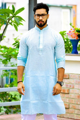 Sultan Sky-blue Long Panjabi