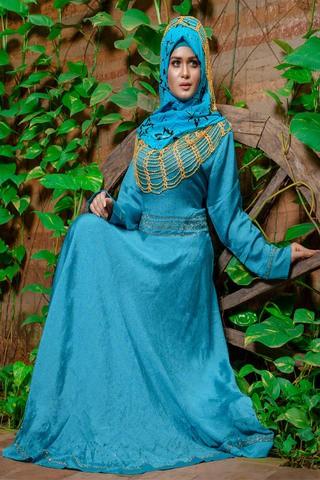Silk Double Georgette Sky-blue Burqa