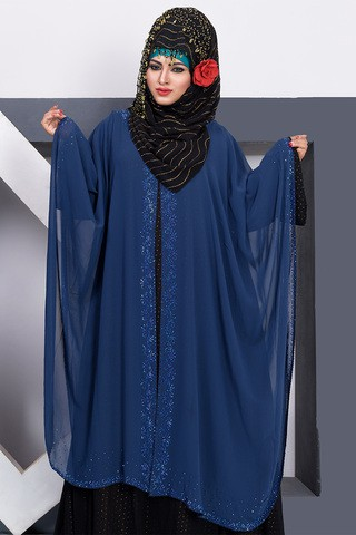 Silk Double Georgette Blue Abaya