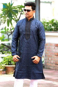 Katan Teal Long Panjabi