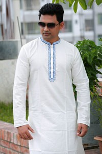 Cotton Off-white Semi Long Panjabi