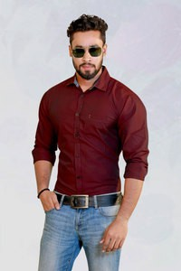 Izod Maroon Solid Casual Shirt