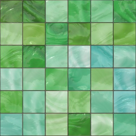 Green and Sky Shiny Glass and Ceramic Mosaic Tiles