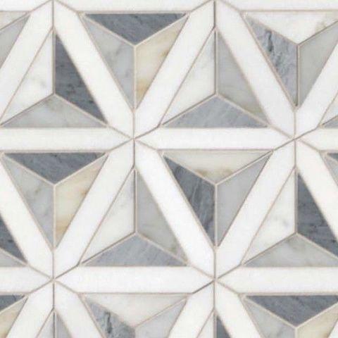 Metallic Grey and Blue Tones Mosaic Tiles