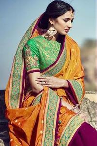 Kimora Sunehri Taffy Silk & Silk Sleeve