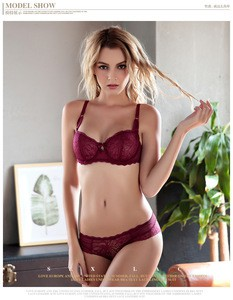Lovebitebd Transparent Lace Deep V Bra Set For Women