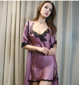 Lovebite women's silk robe set high quality floral bathrobe + nightgown