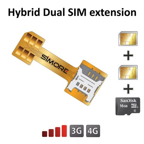 Hybrid Double Dual SIM Card Micro SD Adapter Extender