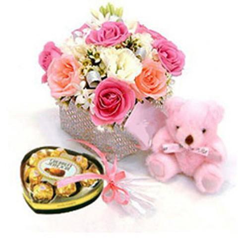 Pink Bear with Rose Dala