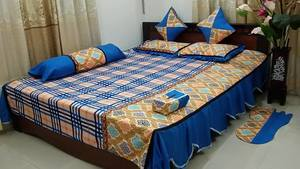 Blue Gold Printed Bed-Cover Set