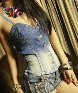 Lovebite women's sleeveless denim sling triggered neck T-shirt crops, tops