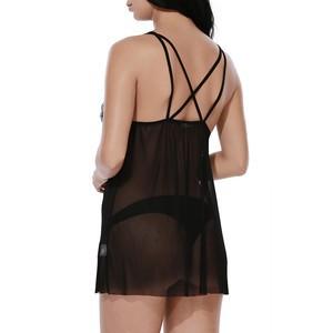 Lovebite Women Cups Strappy Babydoll Thongs Lingerie transparency Mesh Sleepwear