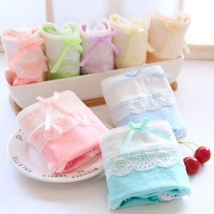 Lovebite 5pcs/lot Women Underwear Panties Girls Cotton Candy Color Cute Bow Briefs