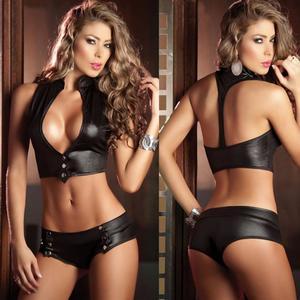 Lovebite Women Leather Faux Leather Bra Underwear Erotic Lingerie Set