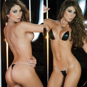 Lovebite Pu leather bronzing transparent shoulder straps Bikini