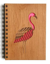 Laser-Cut Wood Spiral Notebook
