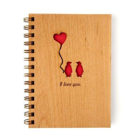 Laser-Cut Wood Spiral Notebook
