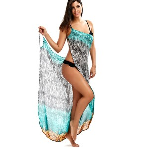 Lovebite Women Zebra Pattern Printed Chiffon Open Back Wrap Beach Dress