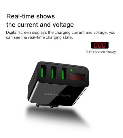 USAMS US-CC035 3A 3 USB Ports EU Plug Travel Wall Charger