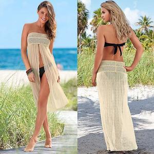 Lovebite Hollow Mesh Long Dress Beachwear Bathing Suit Cover Up