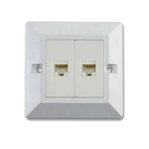 RJ45 CAT6 2 PORT WALLPLATE WITH SHUTTER