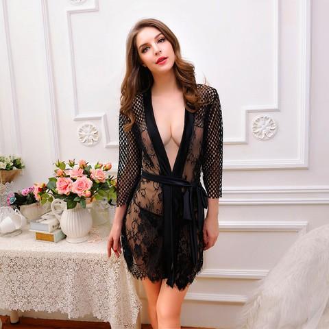 Lovebitebd Lace Kimono Intimate Sleepwear Nightwear For Women