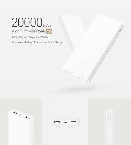 20000mAh Xiaomi Mi Power Bank 2C Support Two-way Fast Charging QC 3.