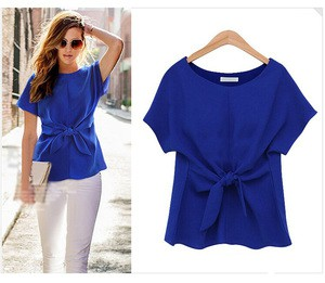 Lovebite T Shirts Short Sleeve Bow Women Casual Plus Size Chiffon Clothes