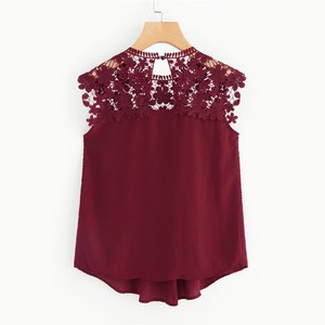 Lovebite Sleeveless Round Neck Sexy Blouse Keyhole Button Back Daisy Lace Shoulder Shell Top