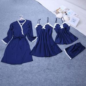 Lovebite 4 Pieces Ladies Sexy Silk Satin Sleepwear Set Include Robe+Nightdress+Top+Pant Lace Nightwear
