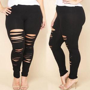 Lovebitebd Hole Pencil Pants Stretch Leggings For Women
