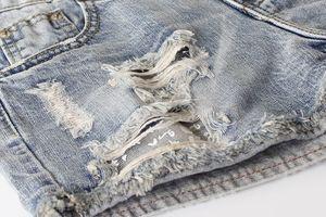 Lovebite womens mid waist light blue hole printing shorts vintage bleached washed zip button cotton denim shorts