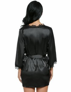 Lovebite Women Sexy Nightwear Plus Size Lace-trimmed Satin Female Bathrobes Lounge Robe