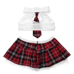 Lovebite Cosplay student uniform lingerie set White Perspective Bra + Red Plaid skirt sexy women costumes