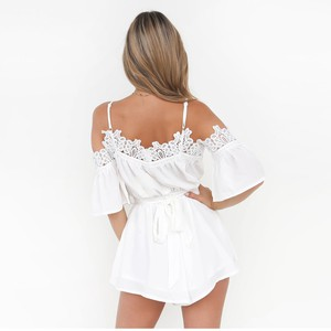 Lovebite Off Shoulder Strappy Lace Insert Women Chiffon Playsuit Jumpsuit Rompers