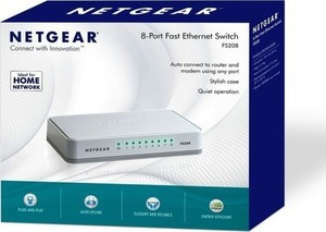 NETGEAR 8 Port Fast Ethernet 10/100 Mbps Switch FS208